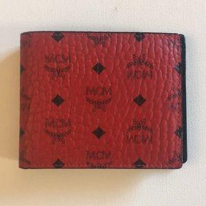 MCM Visetos ruby red men's wallet
